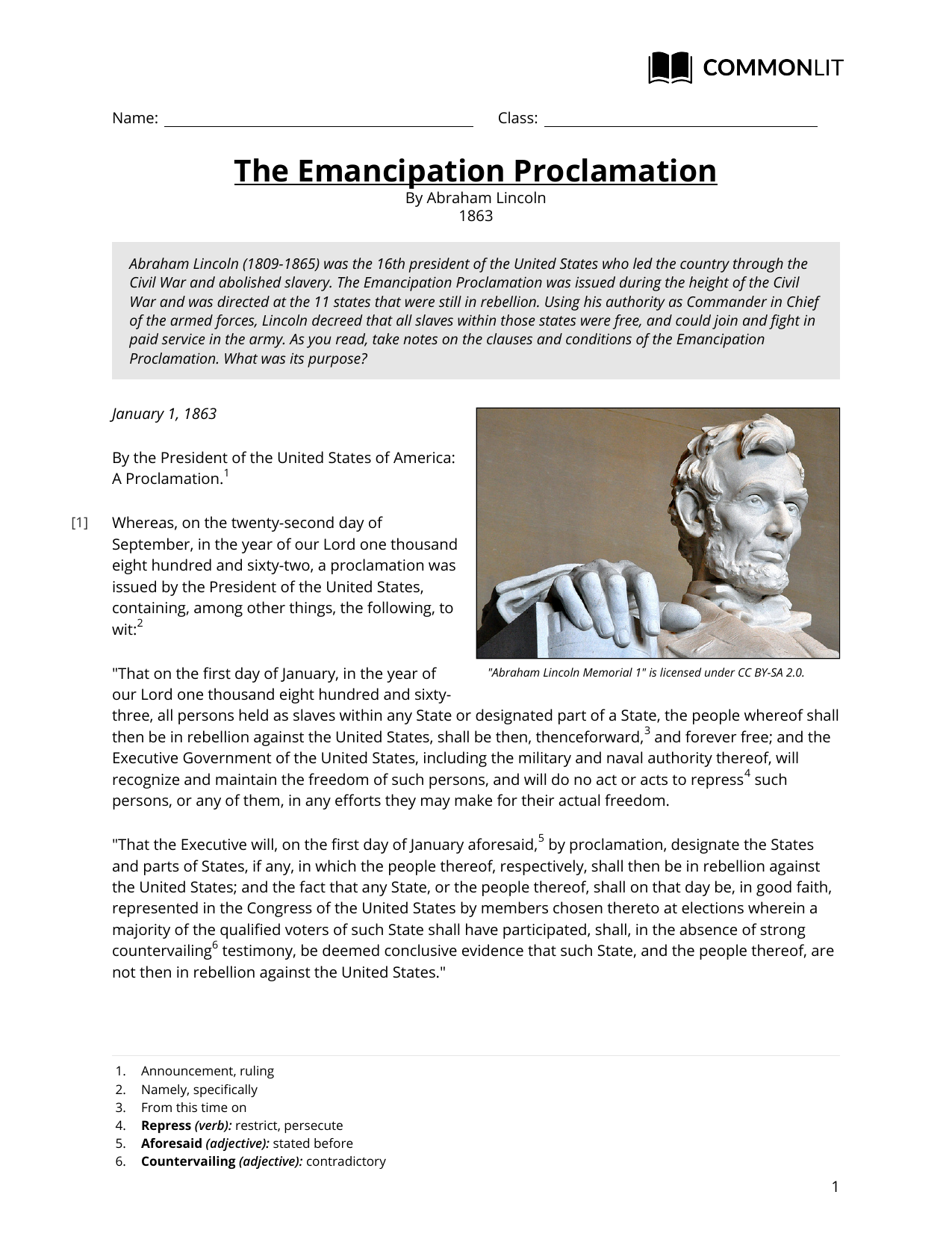 worksheet Emancipation Proclamation Worksheet commonlit the emancipation proclamation
