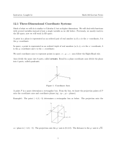 12.1 Three-Dimensional Coordinate Systems