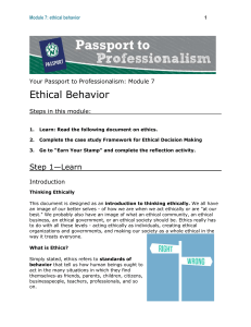 Ethical Behavior - Northwest Missouri State University