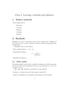 Class 4. Leverage, residuals and influence
