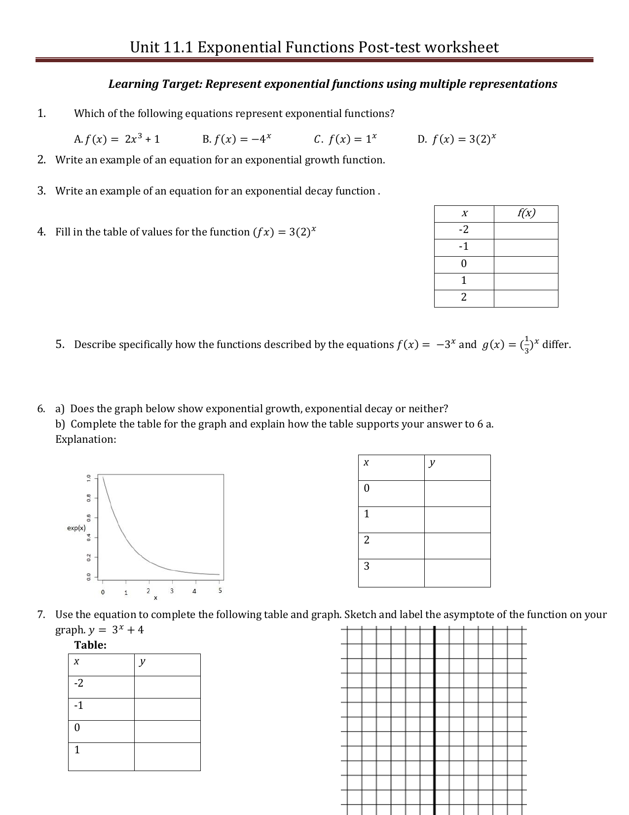 Worksheets Exponential Function Worksheet unit 11 1 exponential functions post