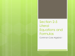 Section 2-5 Literal Equations and Formulas