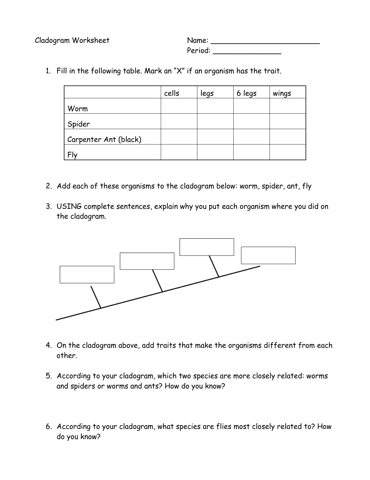 Cladogram Worksheet