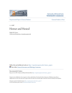 Homer and Hesiod - ScholarlyCommons