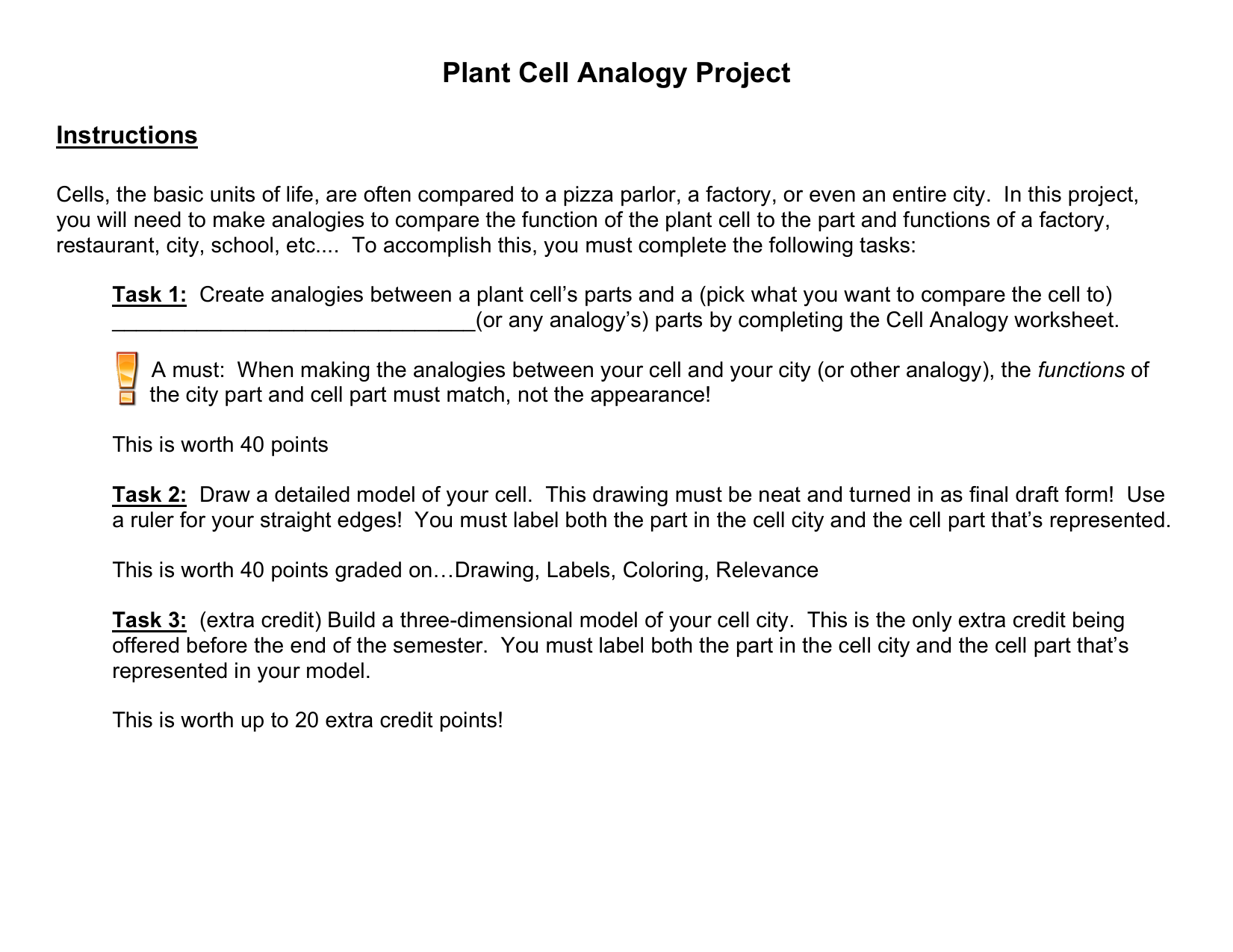 Plant Cell Analogy Worksheet – Cell City Analogy Worksheet