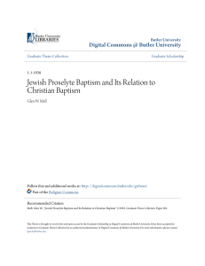 Jewish Proselyte Baptism and Its Relation to Christian Baptism