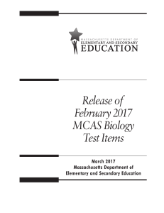 Release of February 2017 MCAS Biology Test Items