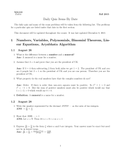 Daily Quiz Items By Date 1 Numbers, Variables, Polynomials