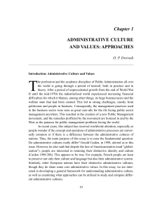 Chapter 1 ADMINISTRATIVE CULTURE AND VALUES