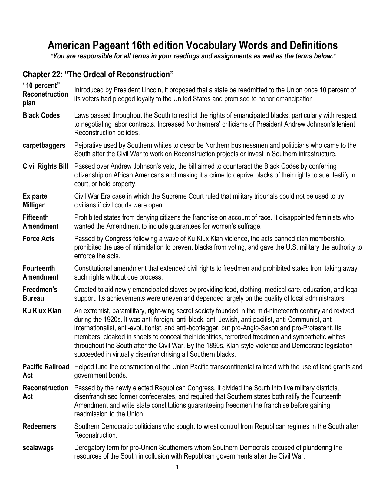 American Pageant 16th edition Vocabulary Words and Definitions
