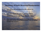Summary of Earth Structure/Geodynamics