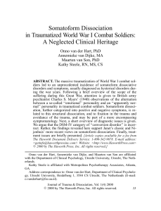 Somatoform Dissociation in Traumatized World War I Combat Soldiers