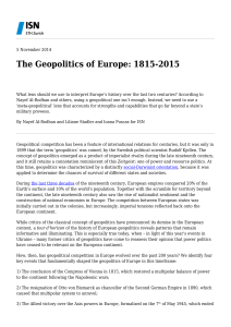 The Geopolitics of Europe: 1815-2015