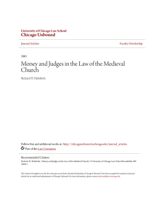 Money and Judges in the Law of the Medieval Church