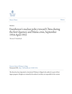 Eisenhower`s nuclear policy toward China during the first Quemoy