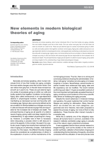 New elements in modern biological theories of aging