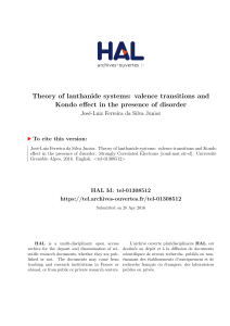 Theory of lanthanide systems: valence - Tel Archives ouvertes