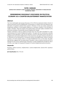 remembering rousseau`s discourse on political economy as a