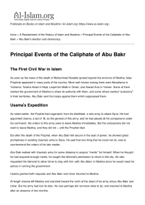 Principal Events of the Caliphate of Abu Bakr - Al