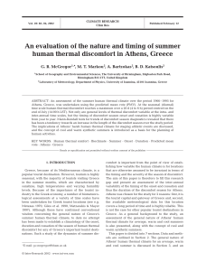 An evaluation of the nature and timing of summer human thermal
