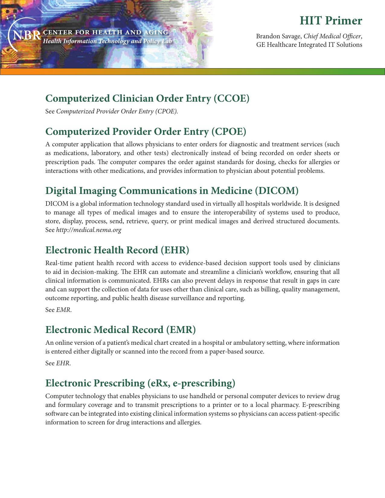 HIT Primer - Pacific Health Summit