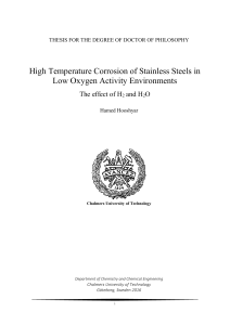 High Temperature Corrosion of Stainless Steels in Low Oxygen