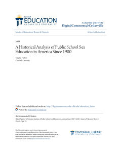 A Historical Analysis of Public School Sex Education in America