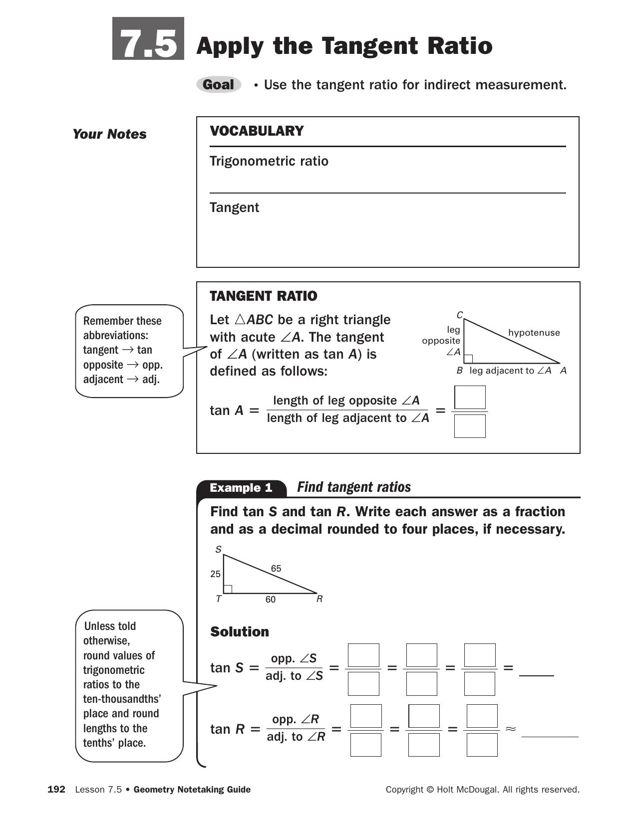 Tangent Ratio Worksheet