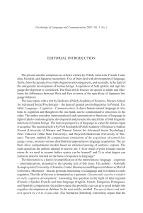 editorial introduction - Psychology of Language and Communication