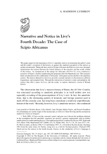 Narrative and Notice in Livy`s Fourth Decade: The Case of Scipio