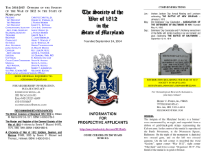 Brochure - Society of the War of 1812 in Maryland