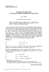 quotients of solutions of linear algebraic differential equations