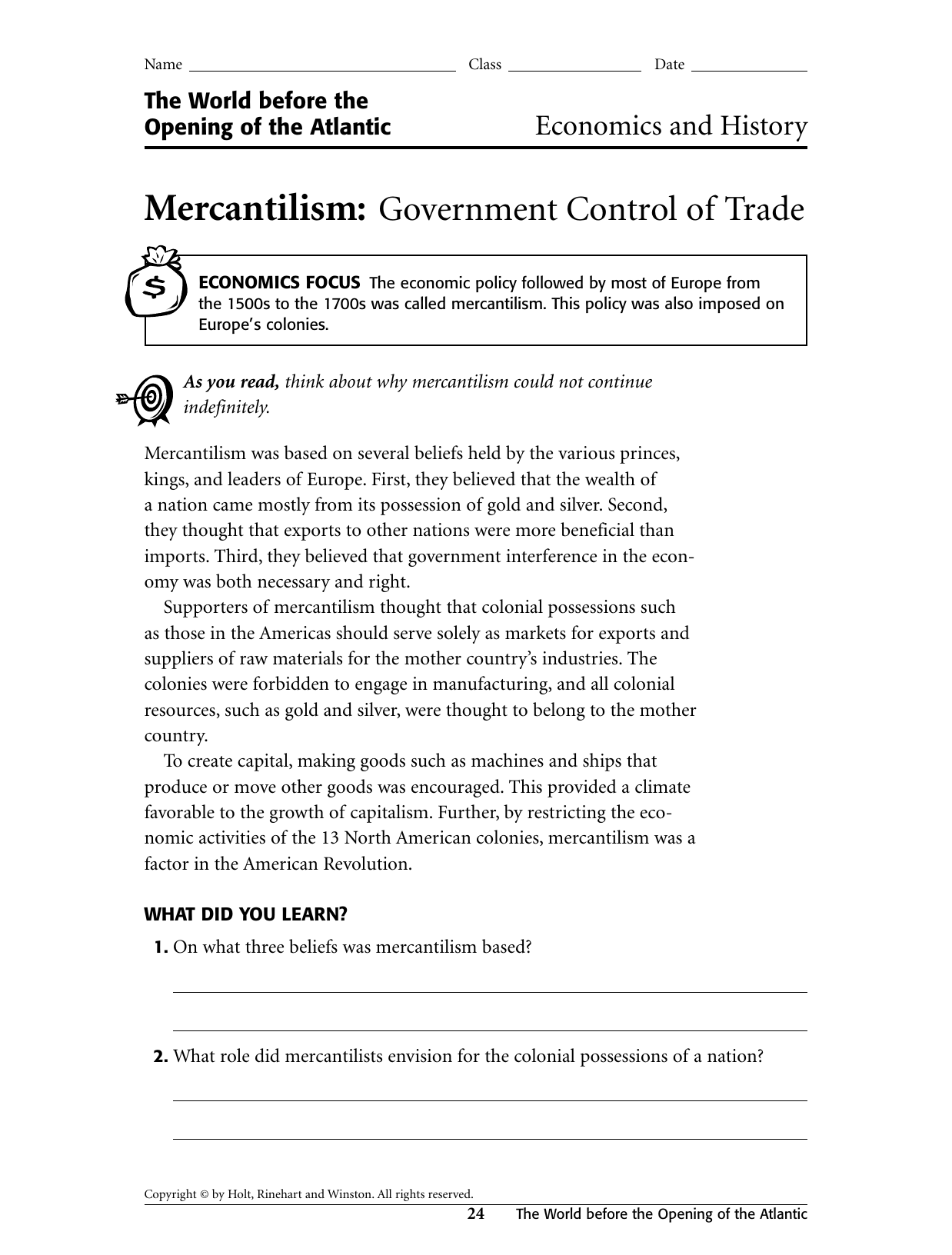 Mercantilism: Government Control of Trade