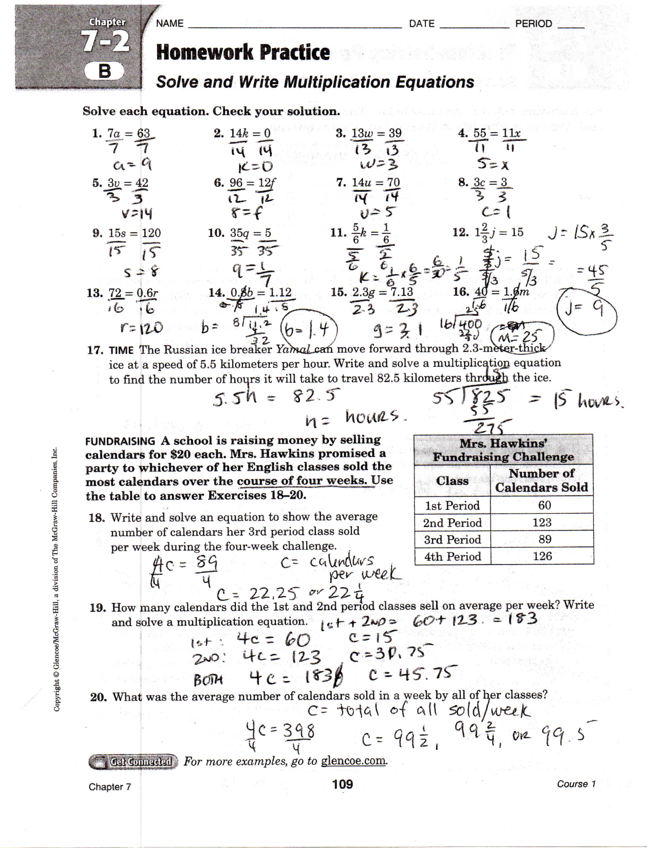 Lesson 6 Extra Practice Write Linear Equations Answer Key