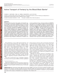 Active Transport of Fentanyl by the Blood-Brain Barrier1