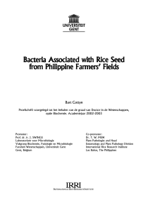 Bacteria Associated with Rice Seed from Philippine Farmers` Fields