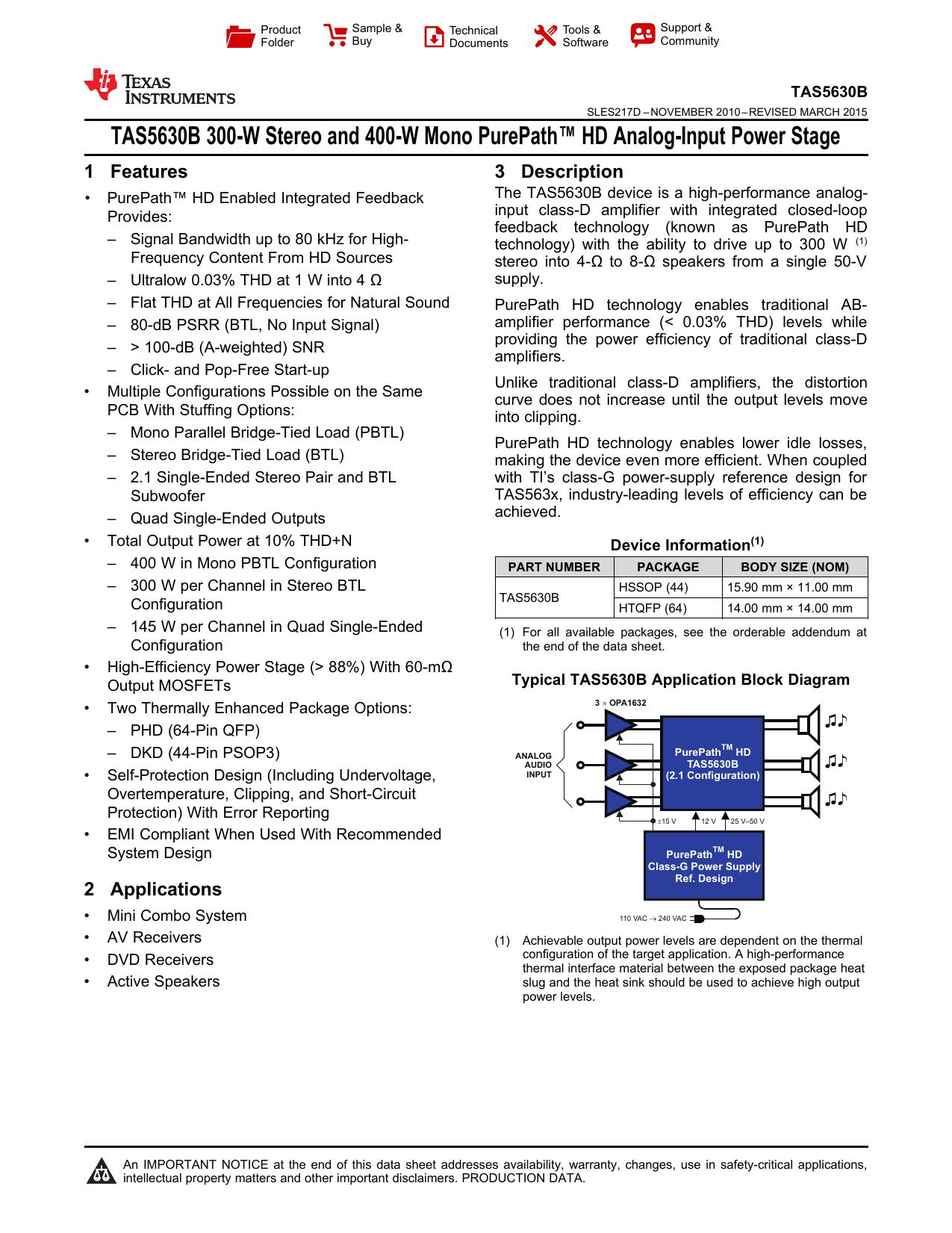 TAS5630B - Texas Instruments