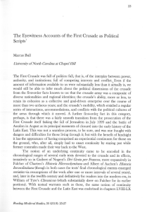 Marcus Bull - `The Eyewitness Accounts of the First Crusade as