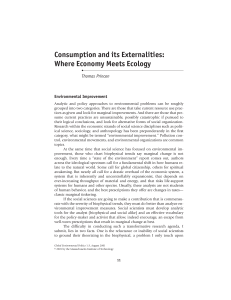 Consumption and its Externalities: Where Economy Meets Ecology