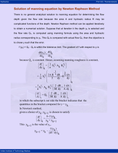 Solution of manning equation by Newton Raphson Method