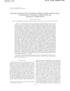 species introduction and replacement among mosquitoes
