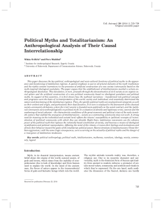 Political Myths and Totalitarianism: An Anthropological Analysis of