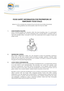 food safety information for proprietors of temporary food stalls