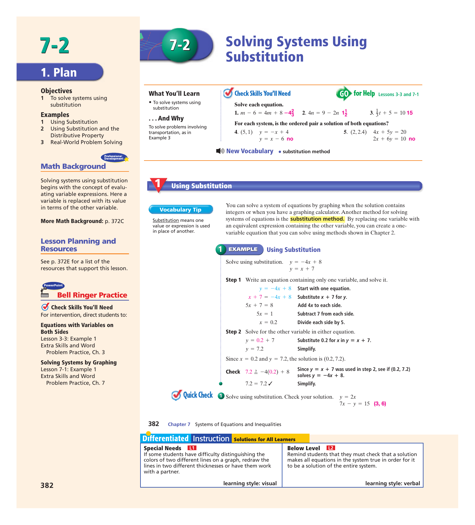 7-2 Solving Systems Using Substitution