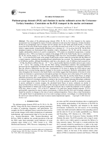 Platinum-group elements (PGE) and rhenium in marine sediments