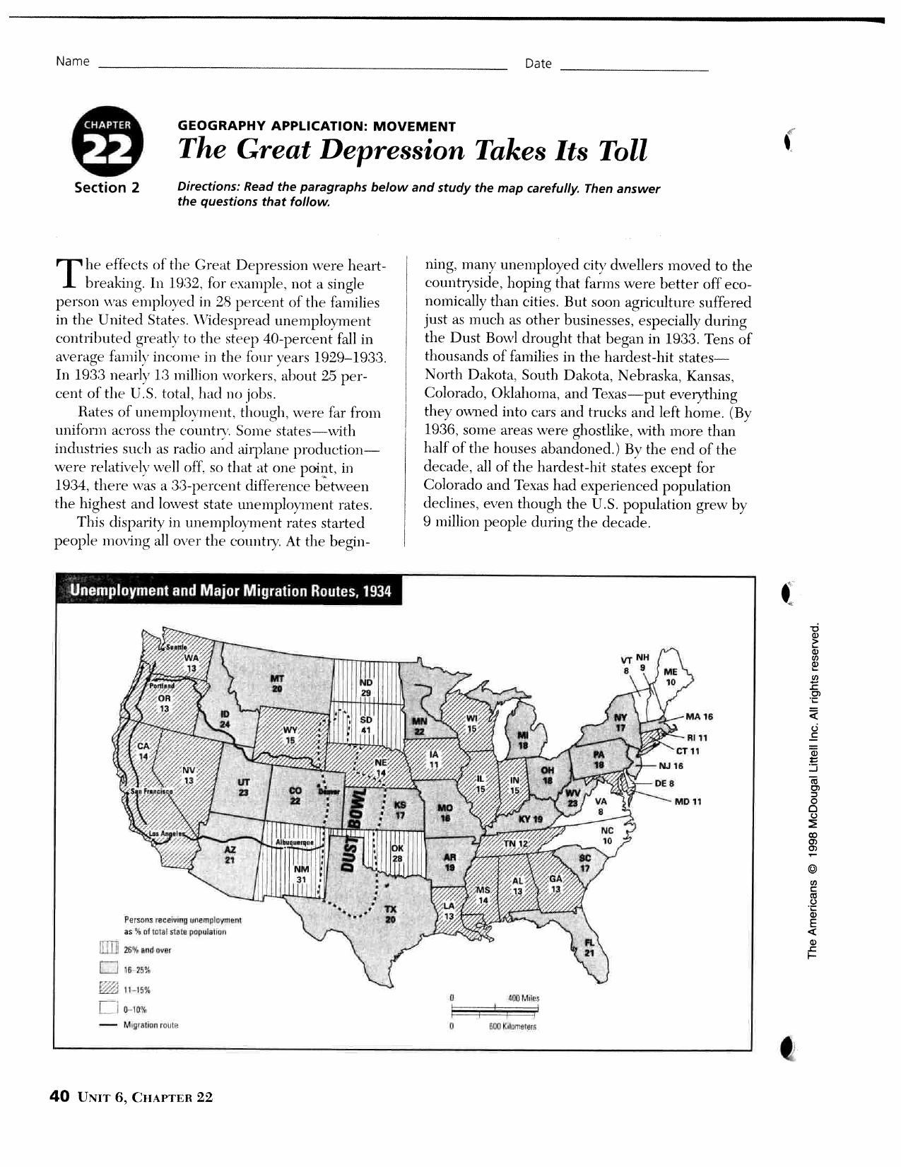 The Great Depression Takes Its Toll I