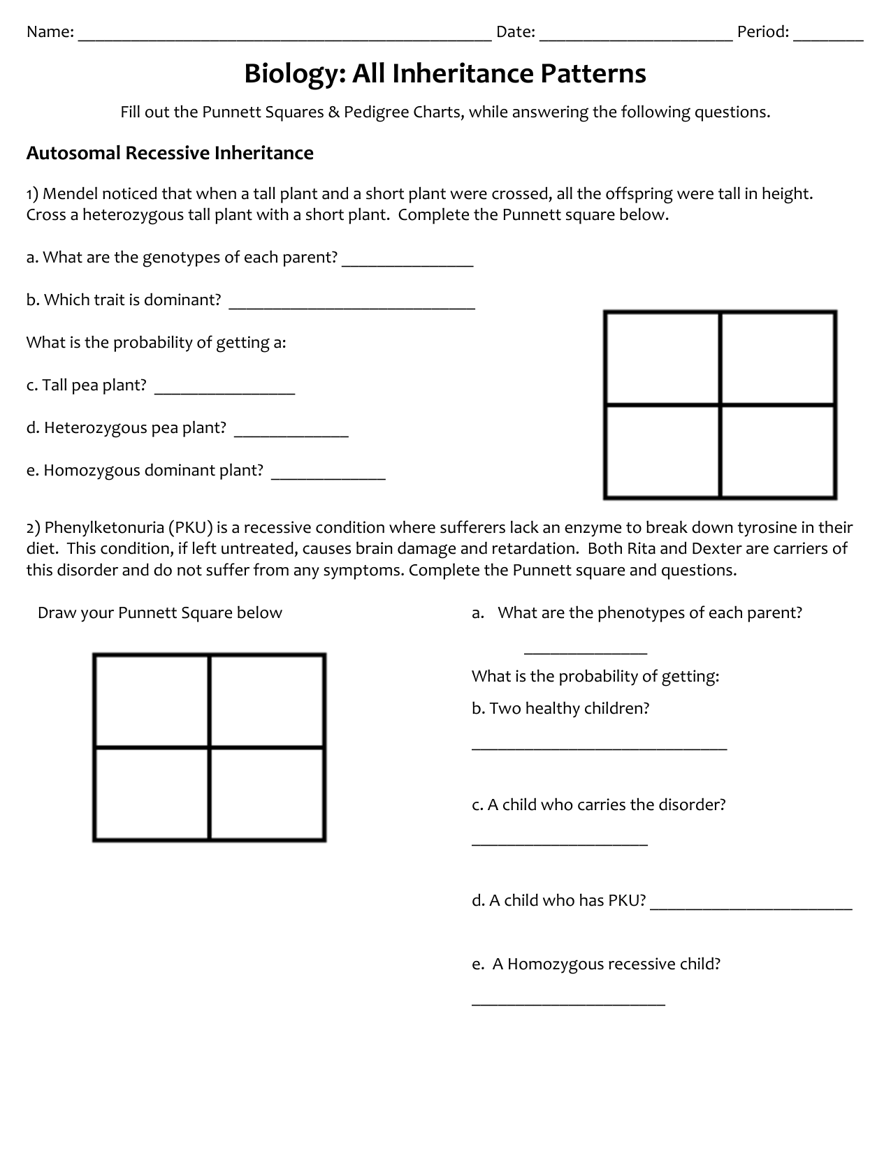 Pedigree Analysis Worksheet Answers / Pedigree Charts The ...