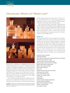 Chemicals: What`s in? What`s out?