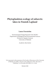 Phytoplankton ecology of subarctic lakes in Finnish Lapland
