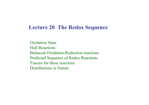 Lecture 20 The Redox Sequence